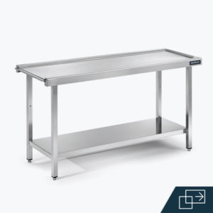 Distform mesa central entrada salida 3 300x300 Mesas de prelavado con cubeta y aro desbarazado   Distform   mesa central entrada salida 3 300x300