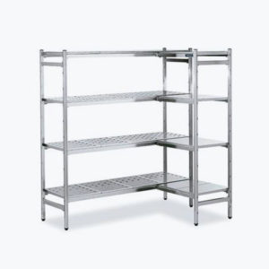 Freestanding stainless steel shelving unit